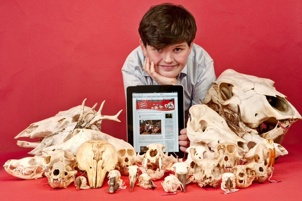 Jake McGowan-Lowe (12), bone collector and blogger, whose blog has been turned into an international book.